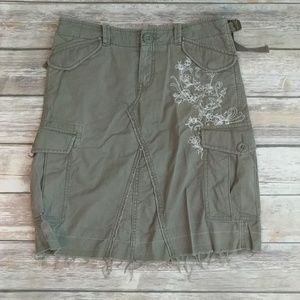 Cargo army green adjustable casual pencil skirt